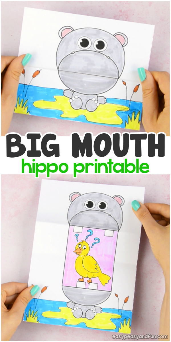 Big Mouth Hippo Printable Paper Craft for Kids