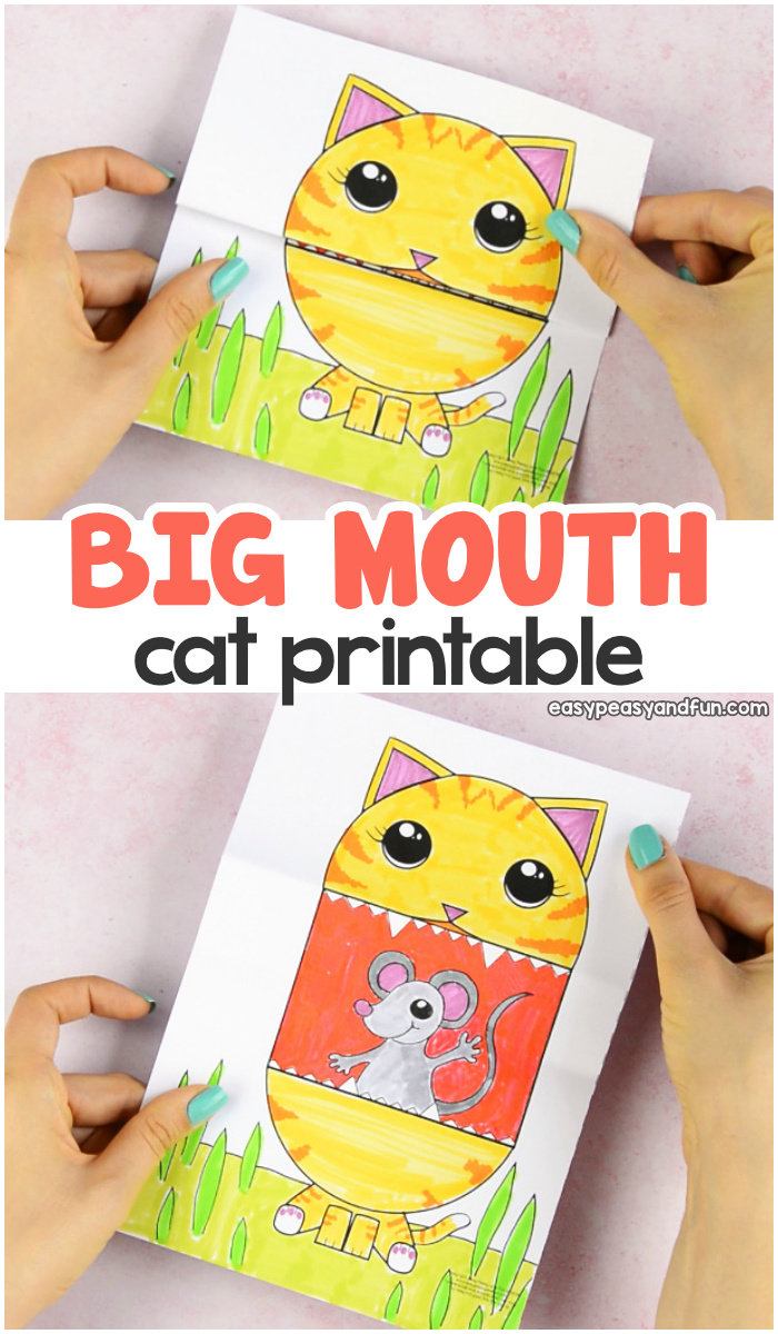 Surprise Big Mouth Cat Printable Paper Craft for Kids