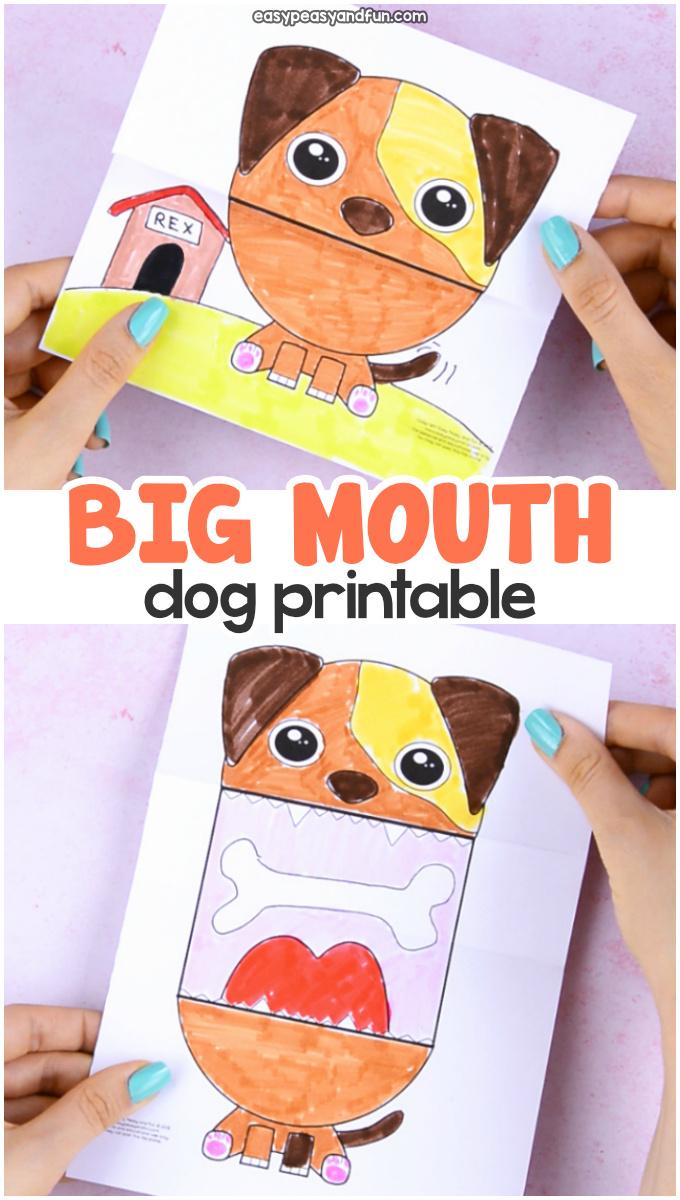 Surprise Big Mouth Dog Printable Paper Craft for Kids