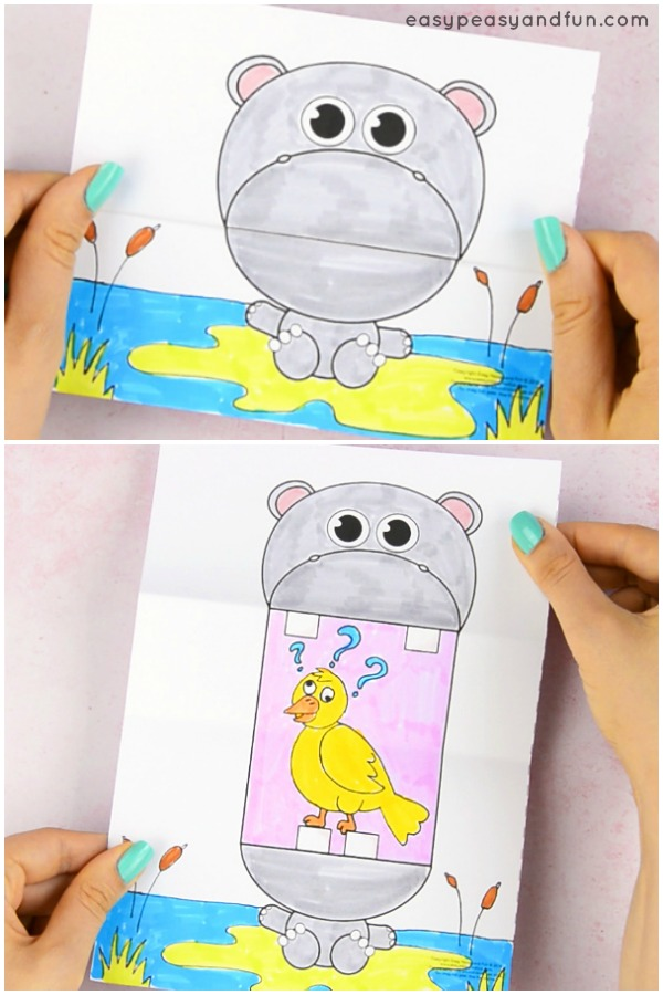 Surprise Big Mouth Hippo Printable Paper Craft for Kids
