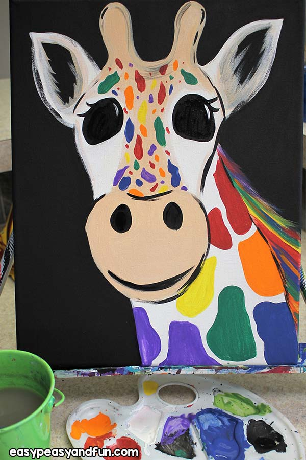 How to paint a rainbow giraffe - art project for kids
