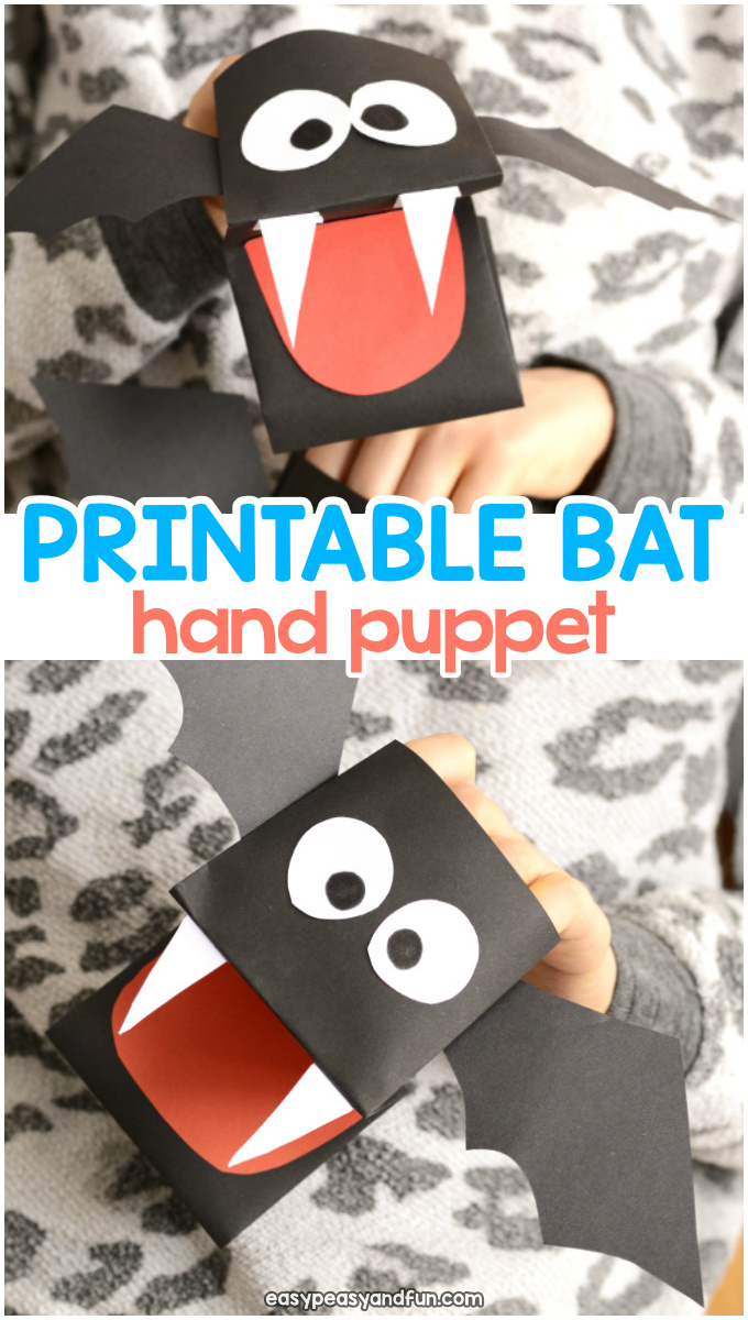 Bat Puppet Printable Template Paper Craft for Kids