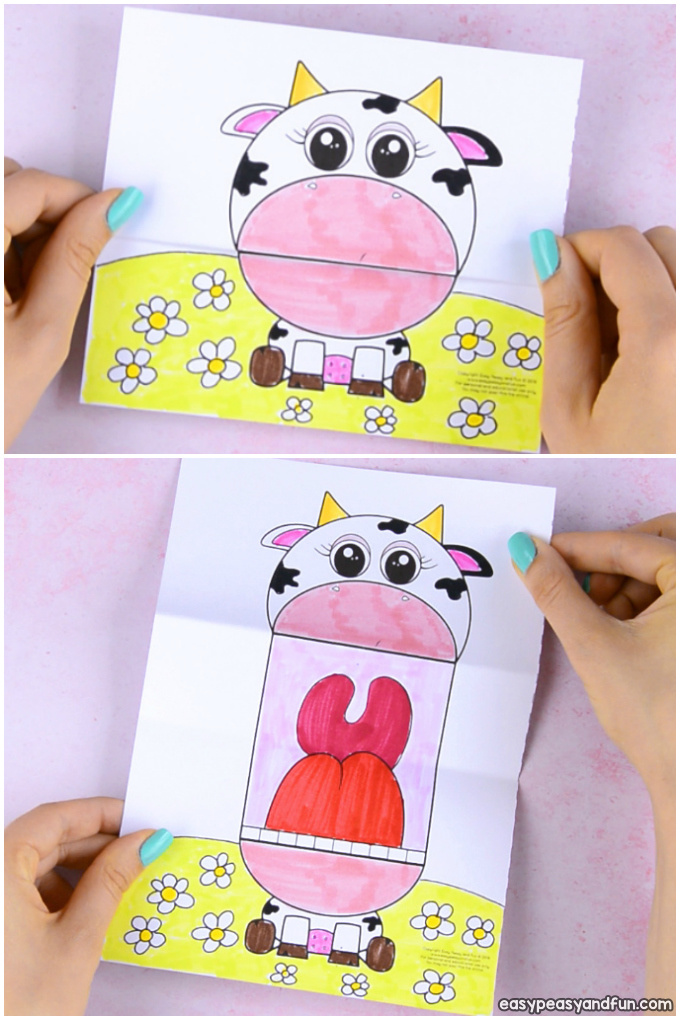 Big Mouth Cow Printable Template Craft for Kids