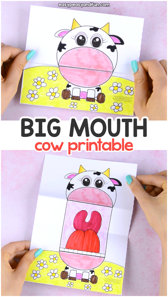 image relating to Printable Cow Pattern titled Ponder Massive Mouth Cow Printable - Straightforward Peasy and Enjoyment