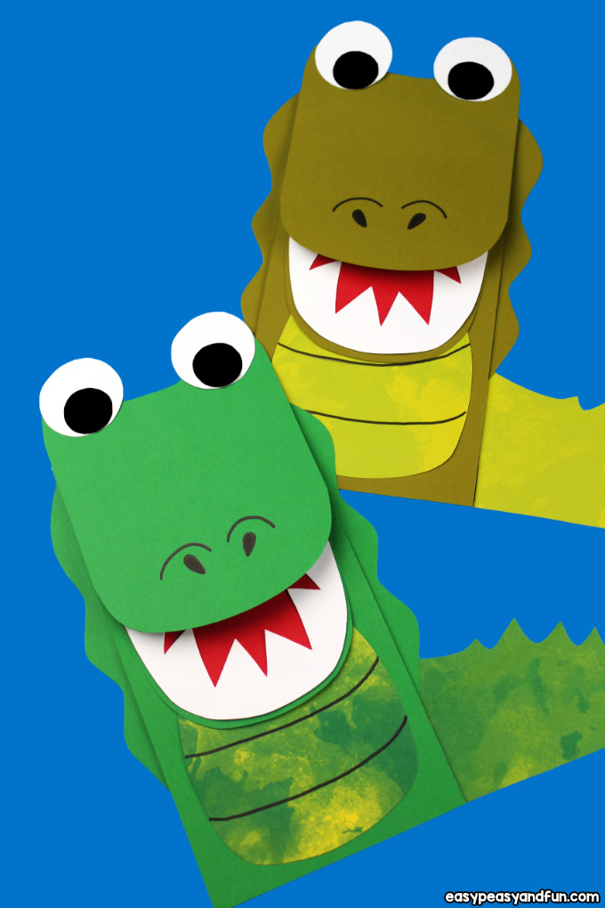 photo about Printable Paper Bag Puppets named Crocodile Paper Bag Puppet (with Template) - Simple Peasy and Entertaining