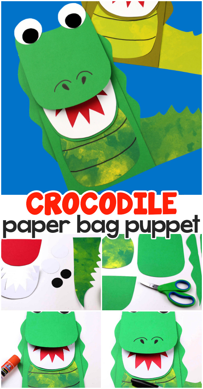 Fun crocodile paper bag pupet craft for kids.