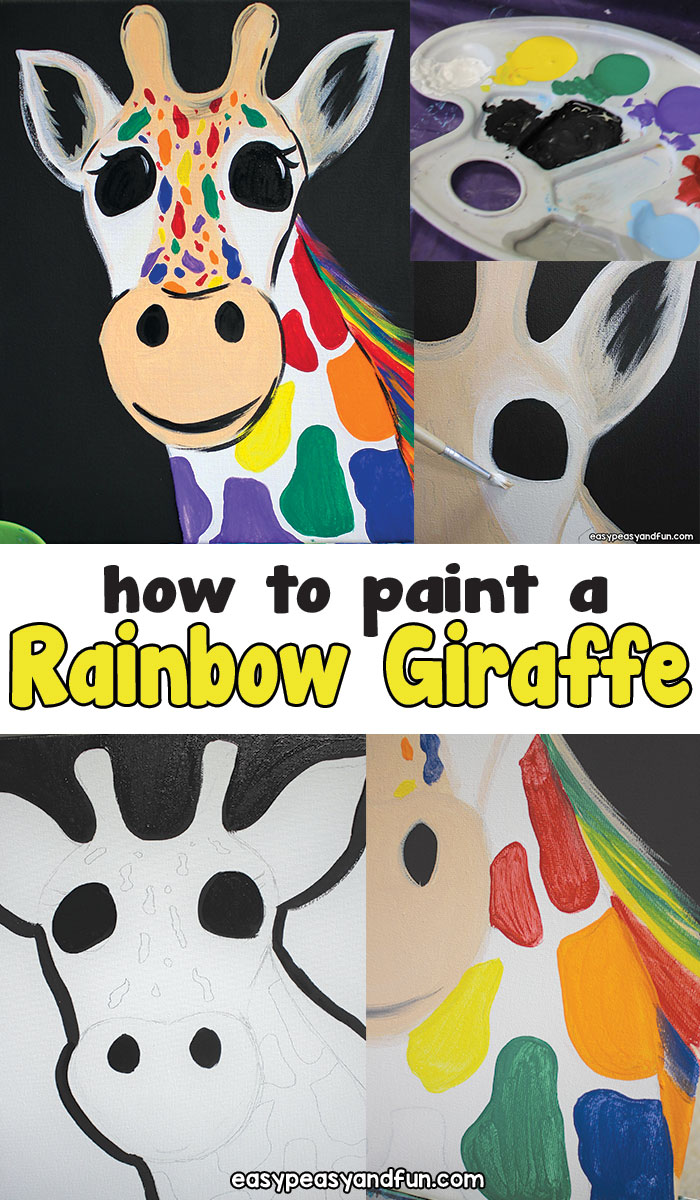 How to paint a rainbow giraffe canvas