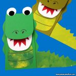 Paper Bag Puppet Crocodile Craft for Kids