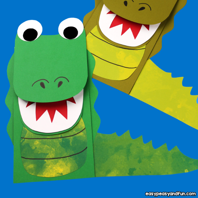 picture relating to Printable Paper Bag Puppets known as Crocodile Paper Bag Puppet (with Template) - Uncomplicated Peasy and Entertaining