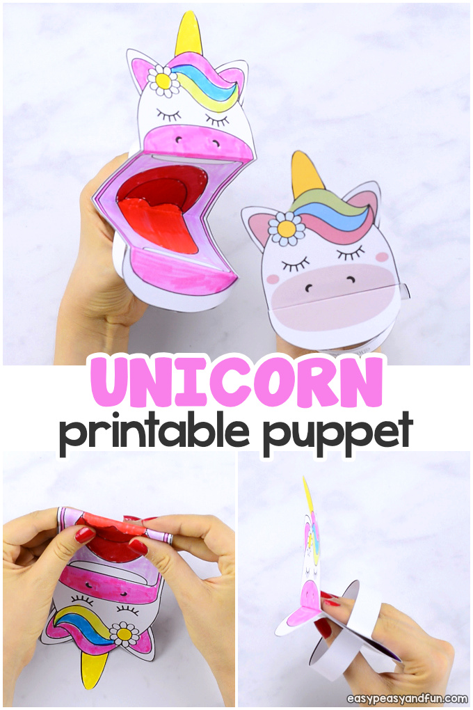 Printable Unicorn Puppet Paper Craft for Kids