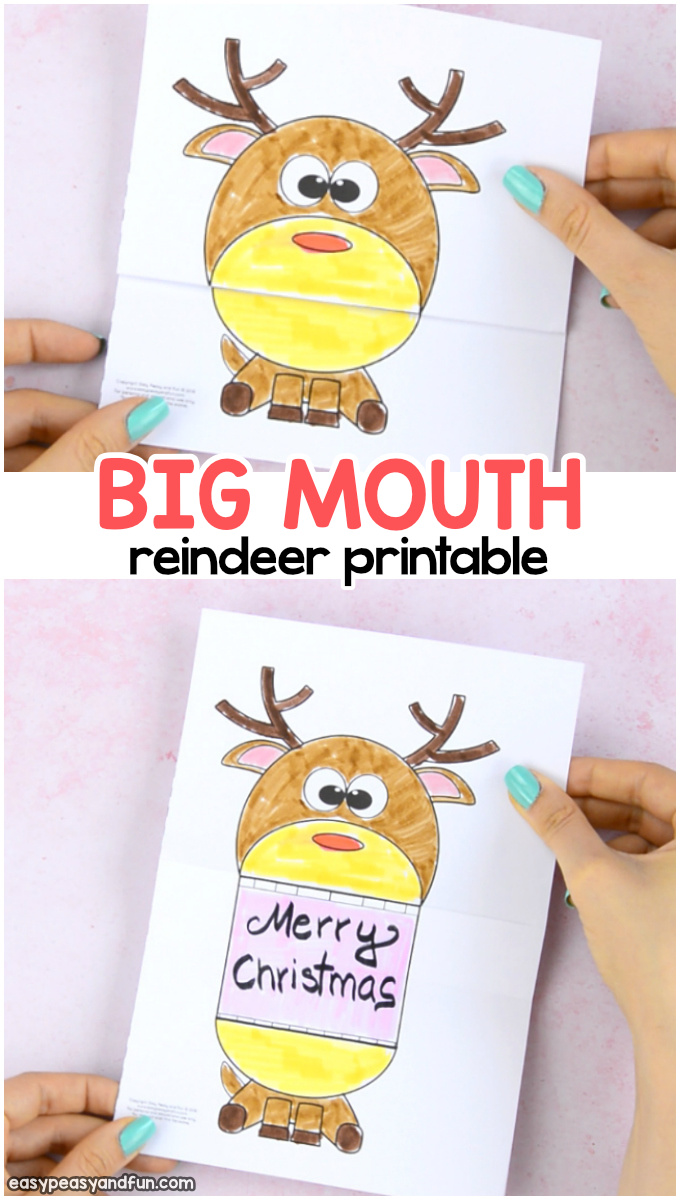 Surprise Big Mouth Reindeer Printable Craft for Kids to Make