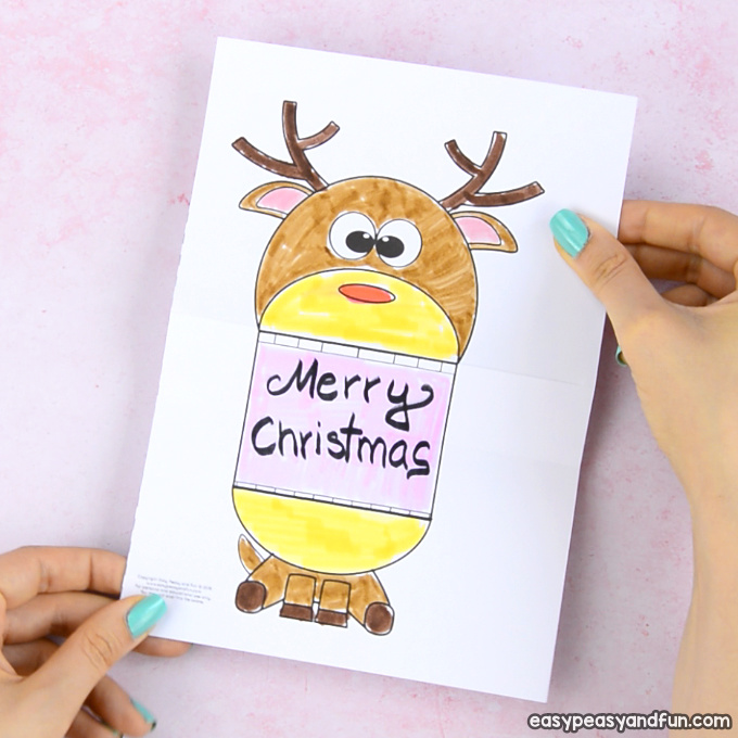Surprise Big Mouth Reindeer Printable Paper Craft for Kids