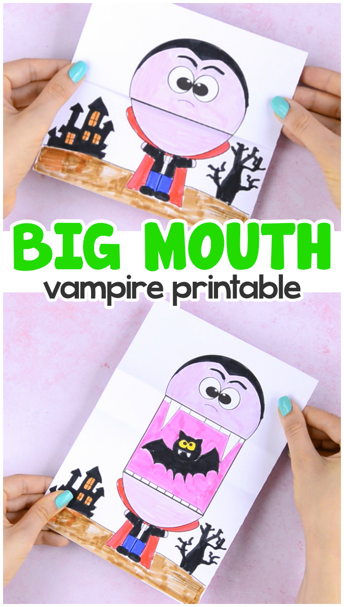 Surprise Big Mouth Vampire Printable Template Paper Craft for Kids