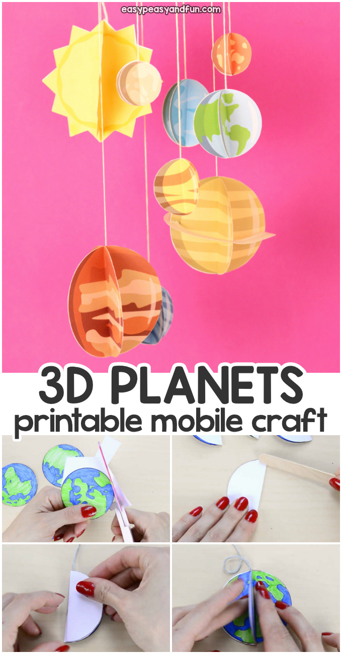 3D Paper Mobile Planets Craft for Kids. Fun paper activity for kids.