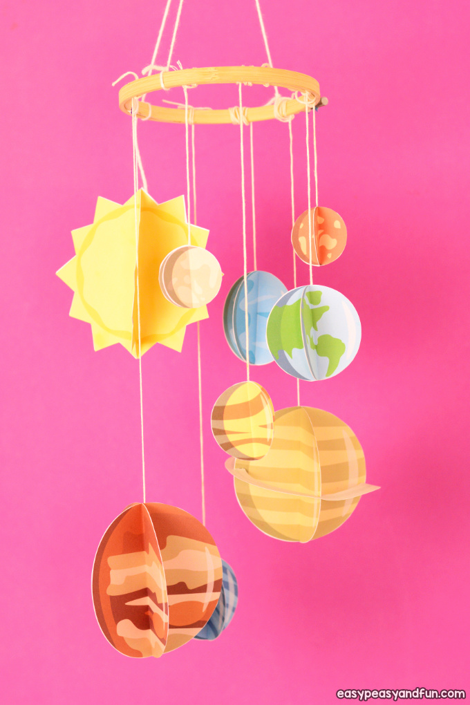 3D Paper Mobile Planets Craft for Kids
