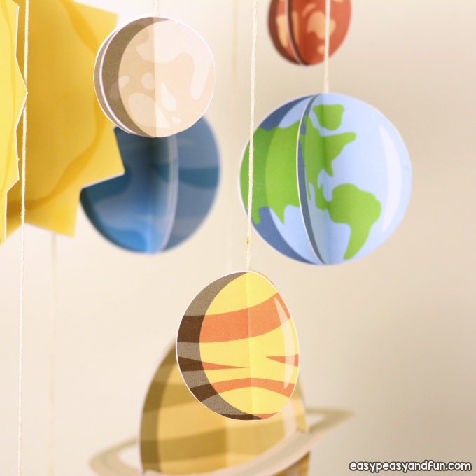 3D Paper Mobile Planets Craft Template - Solar System ...