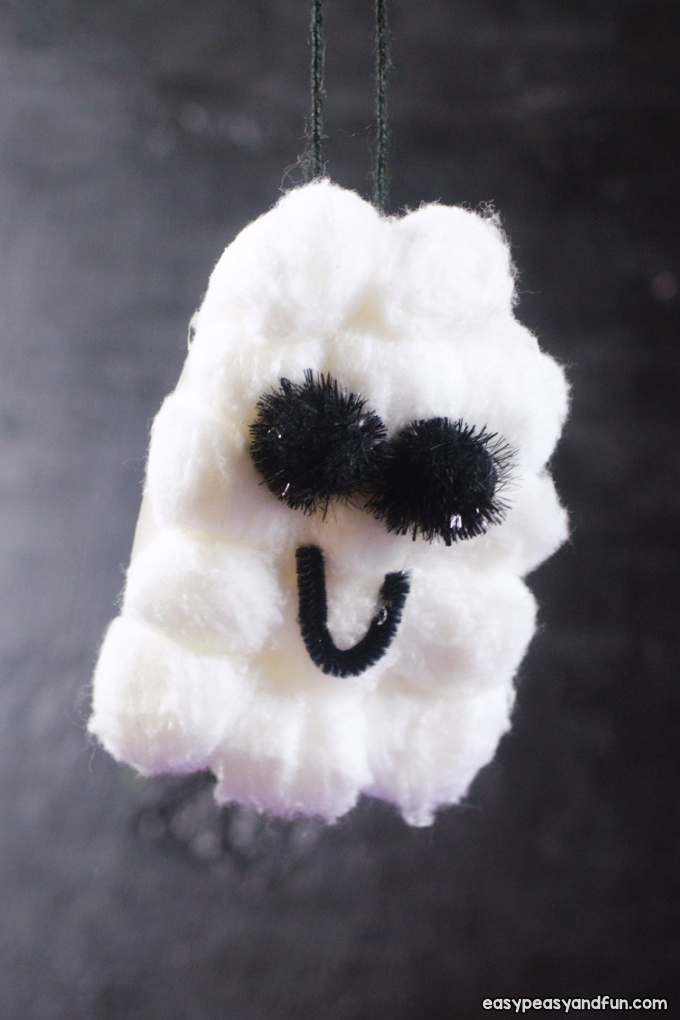 Cotton Ball Ghost Craft for Kids