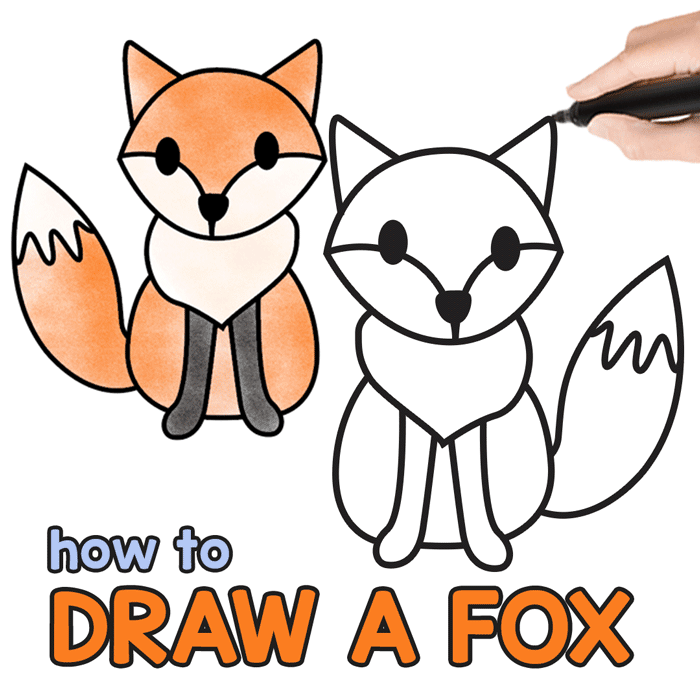 Fox guided drawing step by step tutorial