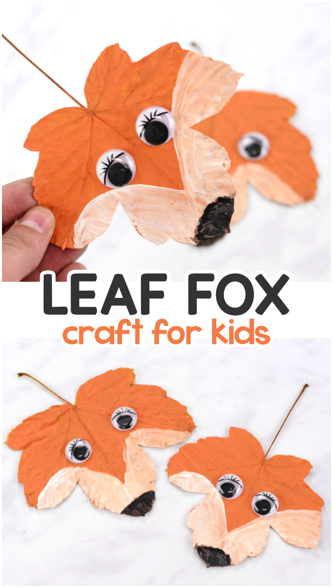 Fox leaf craft for kids to make. Fun fall activity for kids.