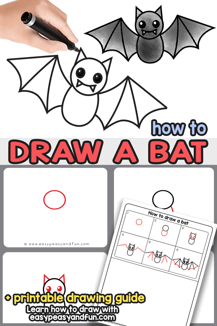 How To Draw A Bat Step By Guided Drawing Tutorial