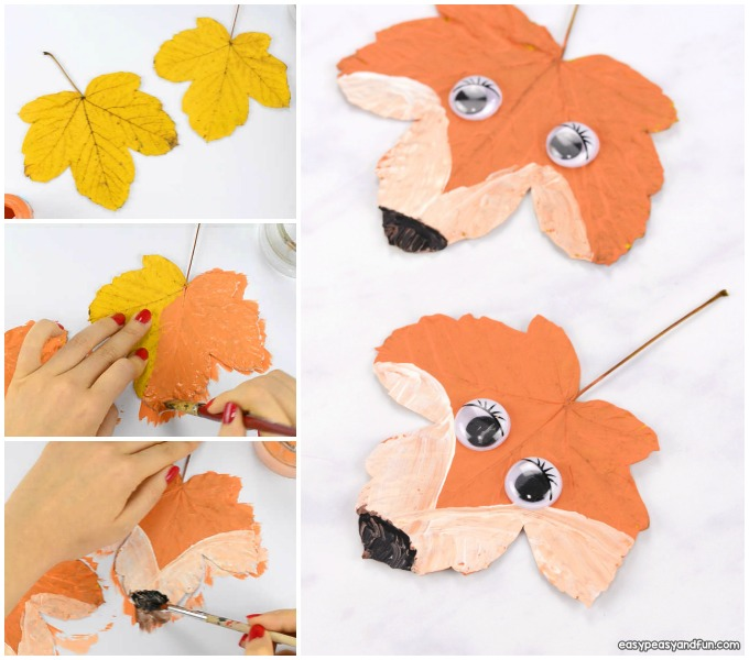 Leaf fox craft for kids.