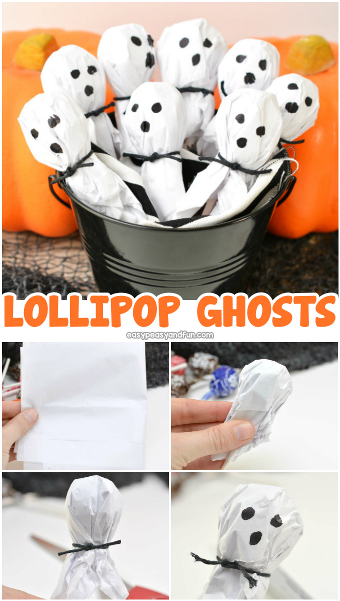 Lollipop Ghosts Halloween Craft for Kids