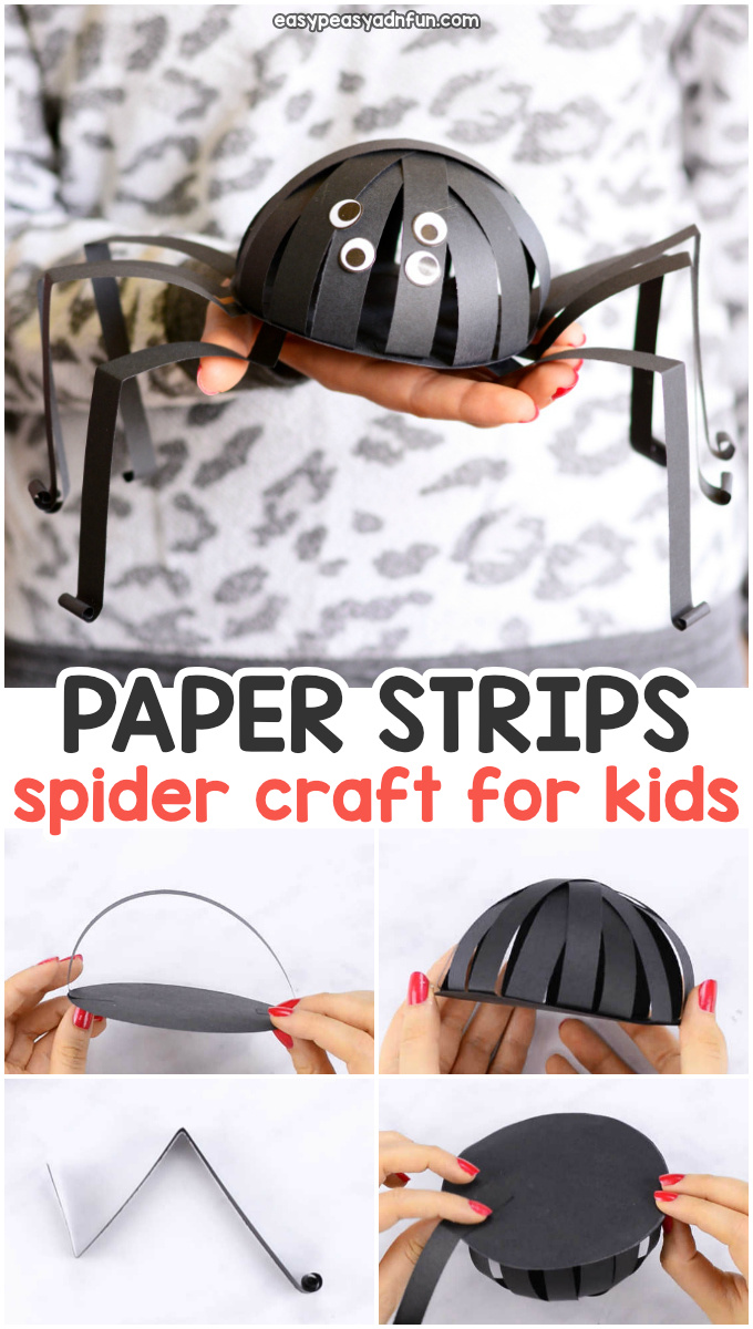 Paper strips spider craft for kids for Halloween.