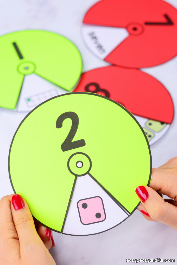 Printable Numbers Spinners 1 to 20. Interactive number learning for kids.