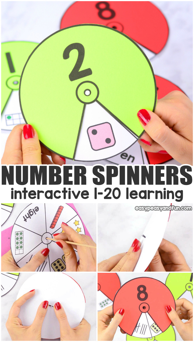 Printable numbers spinners 1 to 20. Interactive number learning printable for kids.