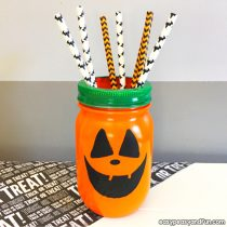 Halloween Pumpkin Mason Jar Craft