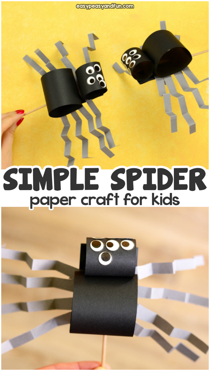Simple spider craft for kids. Easy paper craft idea for kids to make for Halloween.