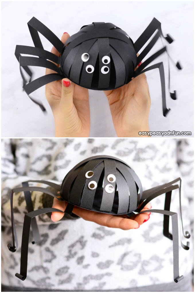 Spider paper craft for kids for Halloween.