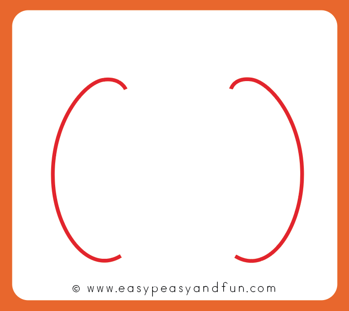 Start by drawing two curved shapes