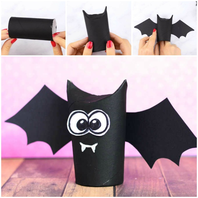 Toilet Paper Roll Bat Craft Idea for Kids