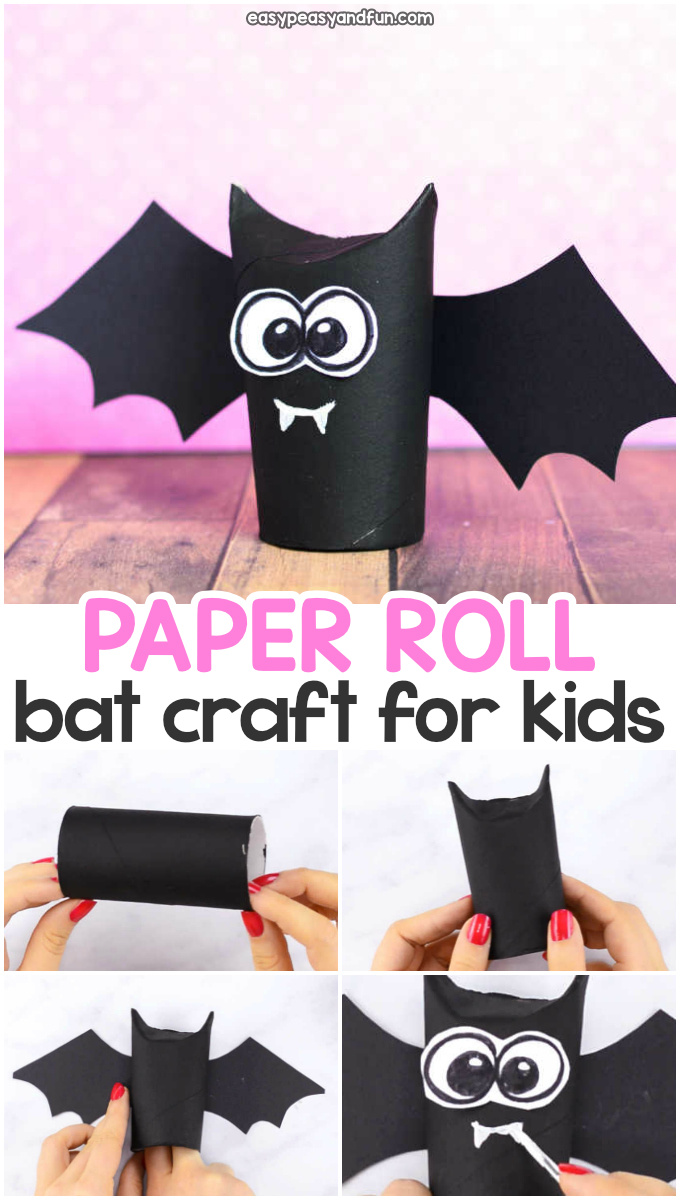 Toilet paper roll bat craft idea for kids. Fun Halloween craft for kids to make with paper rolls.