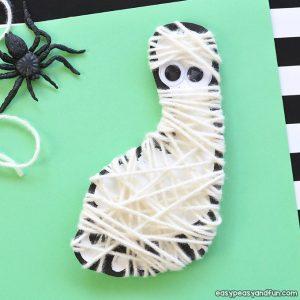 Yarn Wrapped Footprint Mummy Craft