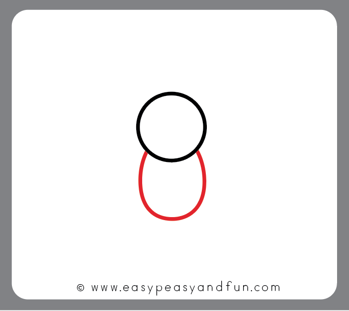 Draw an oval shape bellow the circle