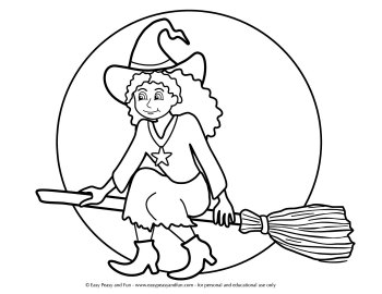 Witch on a Broom Coloring Page