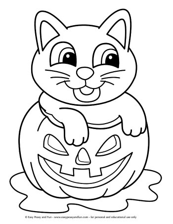 Cat in a Pumpkin Coloring Page for Kids