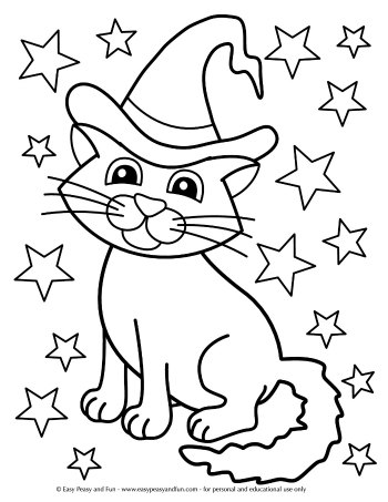Magical Cat Coloring Page