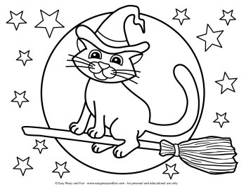 Cat on a broom coloring sheet.