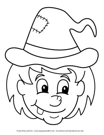 Witch Head coloring page for preschool