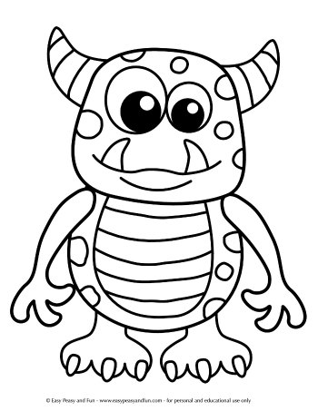 Friendly Monster Free Halloween Coloring Page for Kids. Great for Kindergarten and preschool.