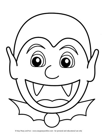 Big and Easy Vampire Halloween Coloring Page for Toddlers