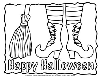 Witch boots Halloween coloring page