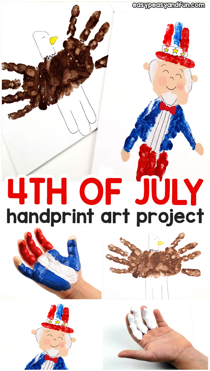 4th of July Hand Print Art