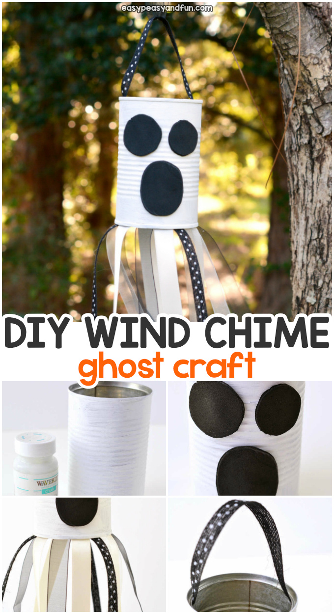 DIY Wind Chime Ghost Halloween Craft for Kids