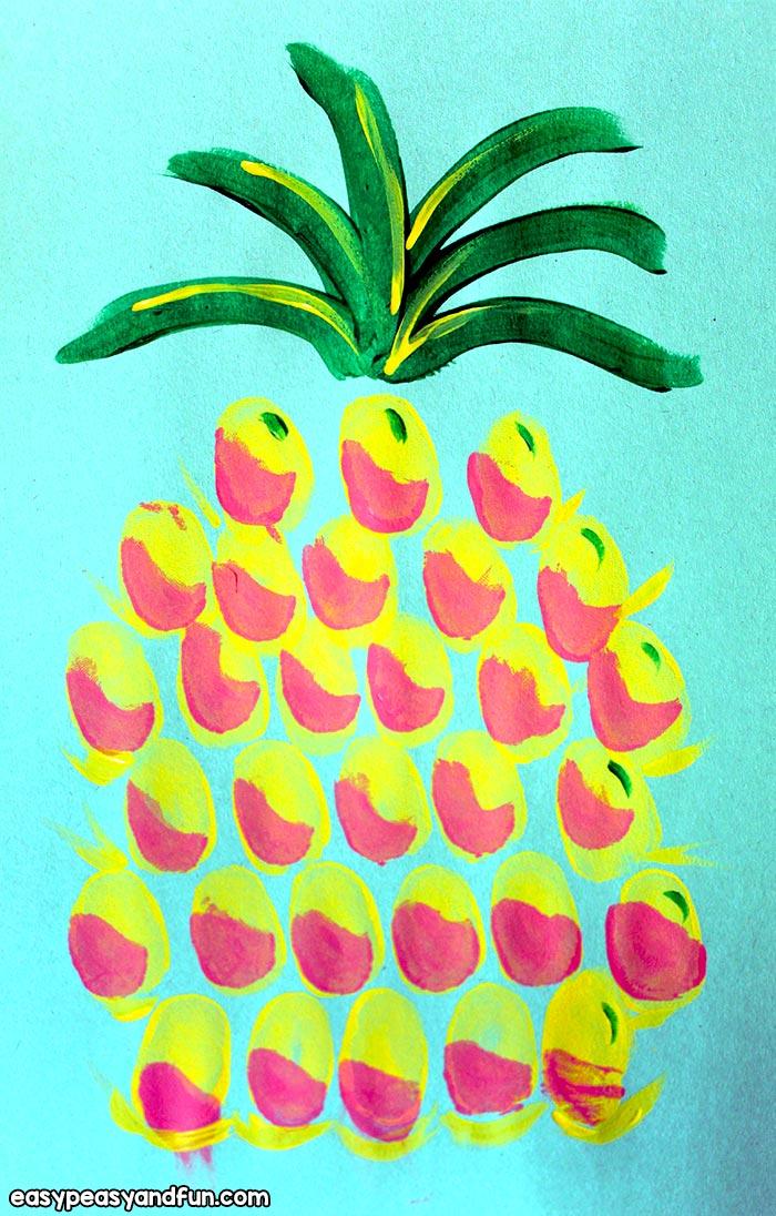 Easy Pineapple Fingerprint Art
