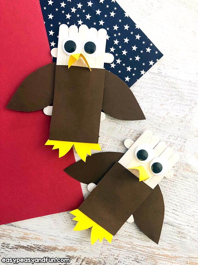 Finished Bald Eagle Craft Sticks