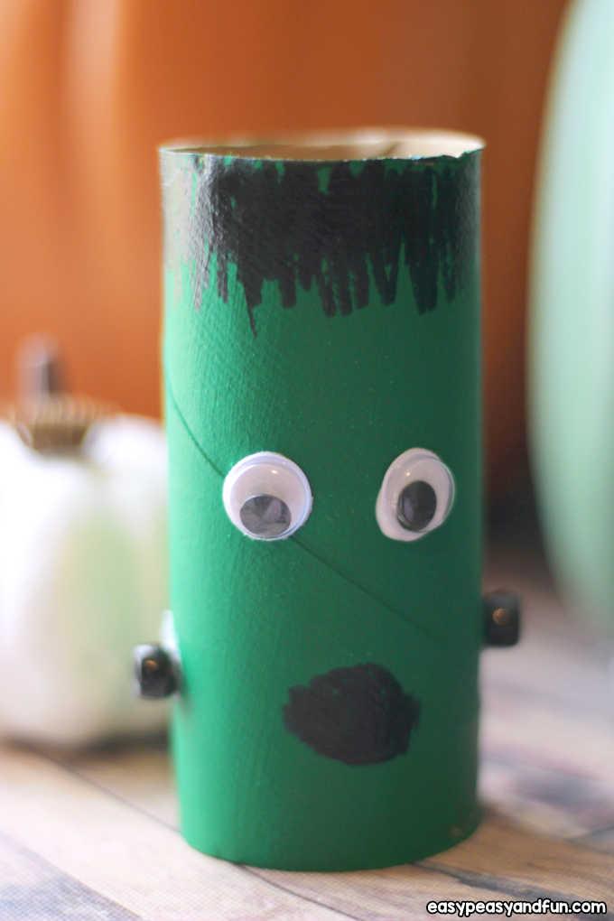 Frankenstein toilet paper roll craft.
